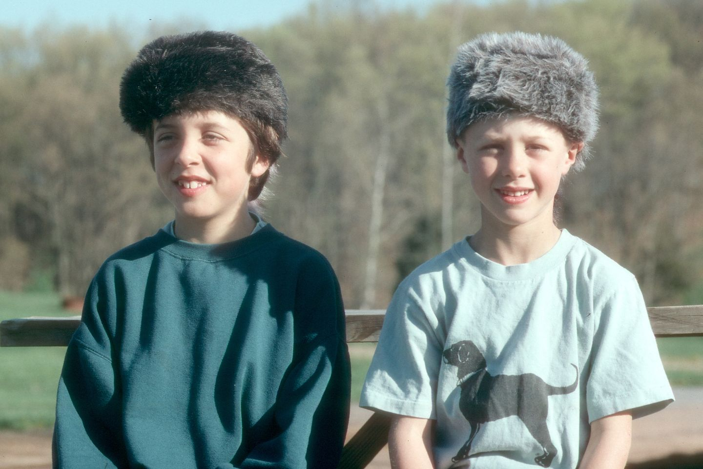 Boys sporting new coonskin hats