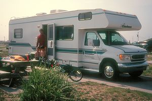 Herb and boys by rental Coachman in Hatteras - 1998
