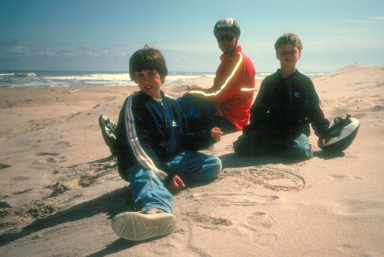 Herb and boys on beach