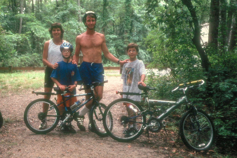 Family mountain biking at First Landing