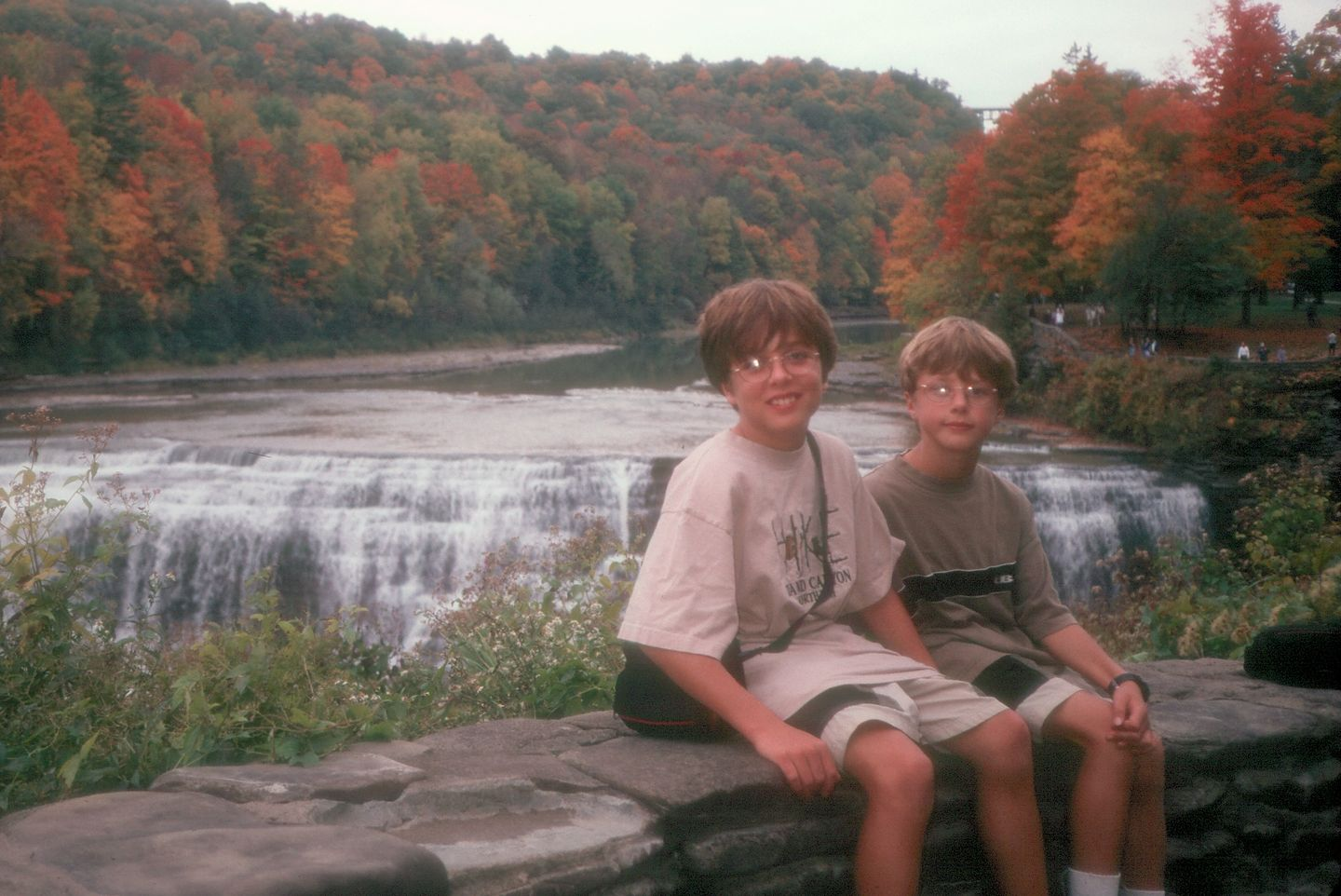 Boys with Letchworth falls