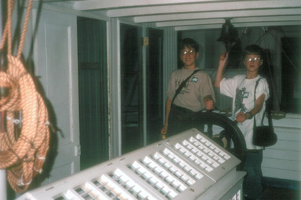 Boys on replica ship