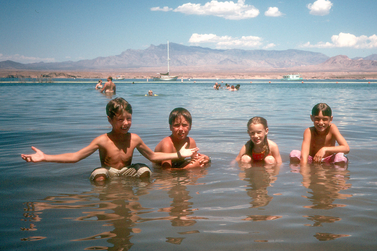 Kids cooling off in Lake Mead