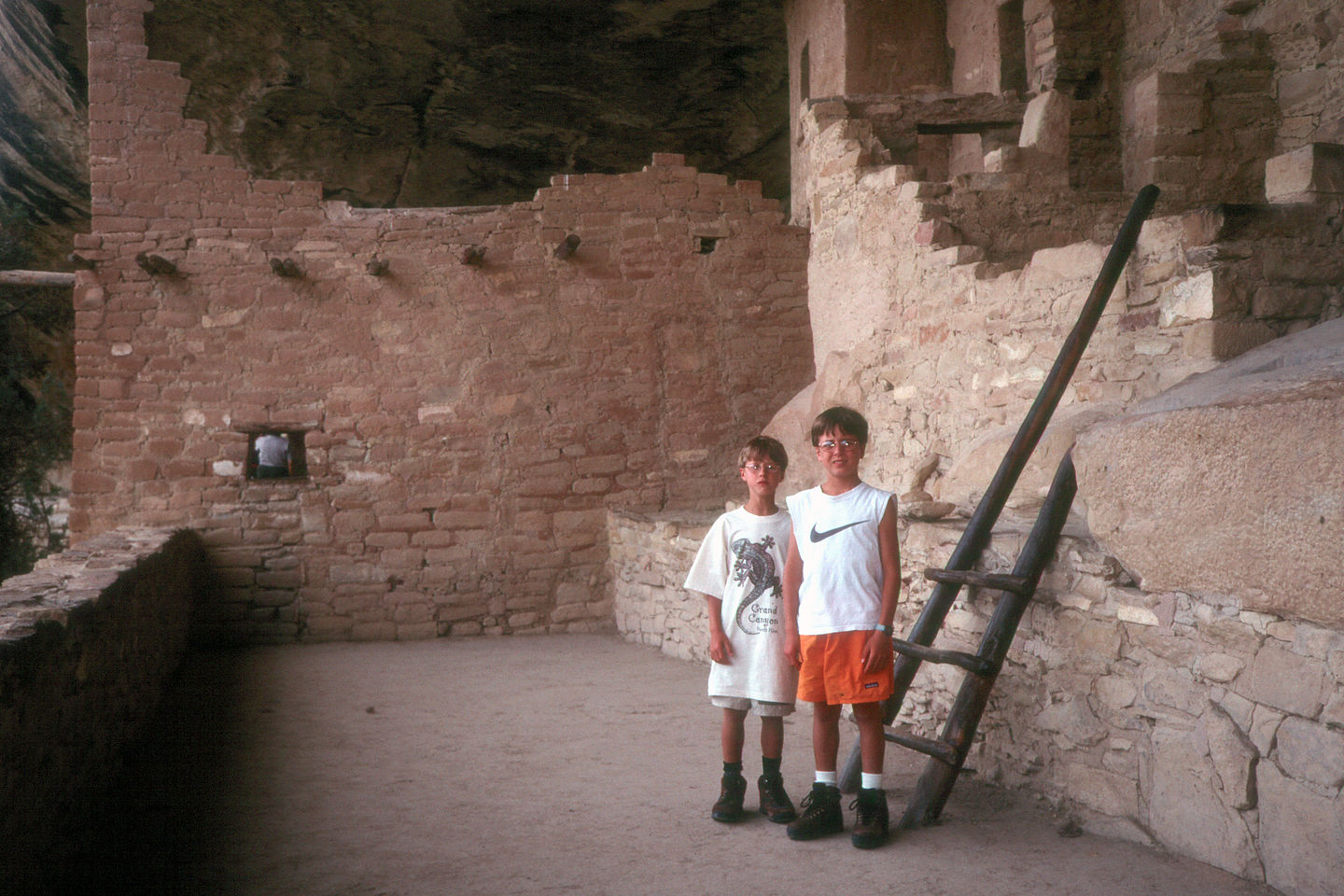 Kids in Balcony House cliff dwelling