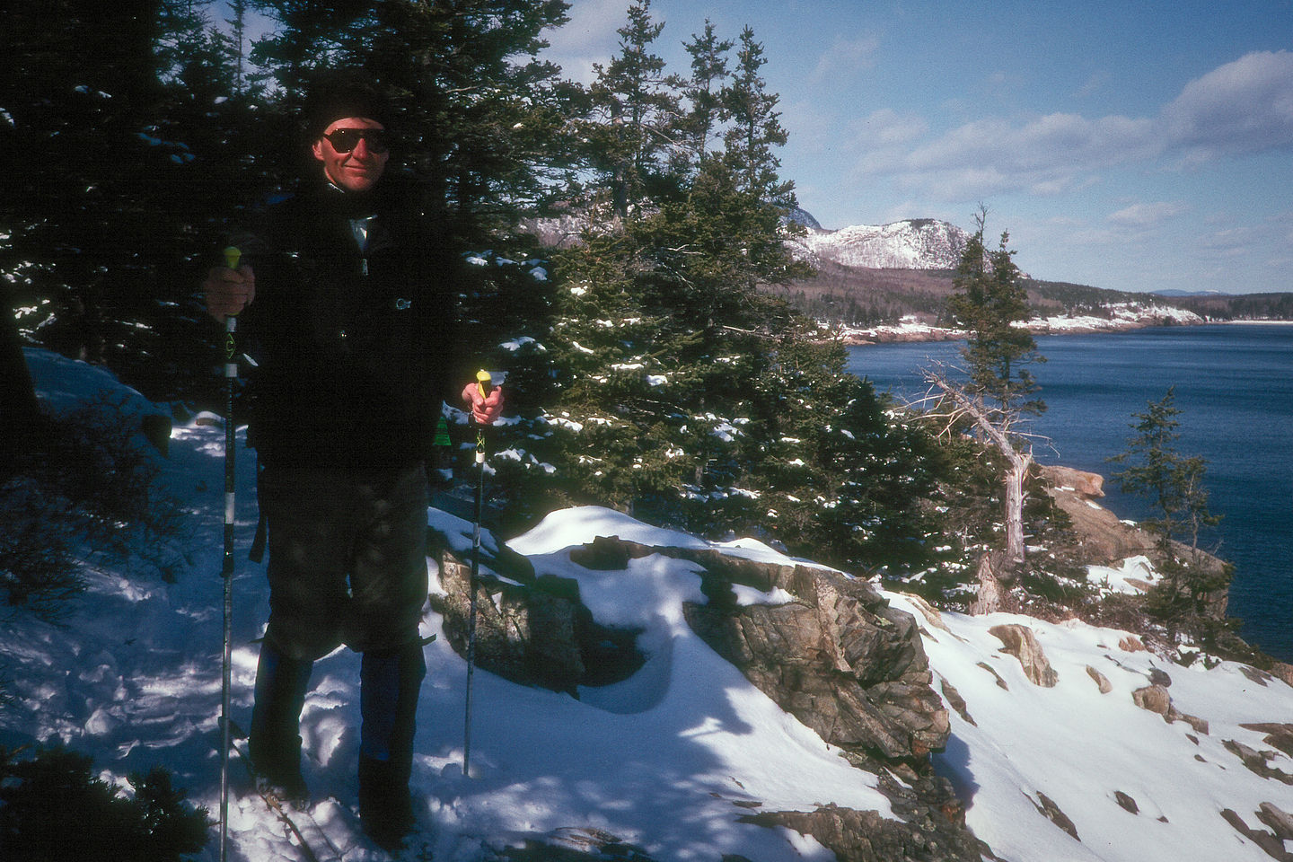 Herb Cross-Country Skiing on trail over ocean