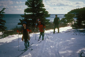 Cross-Country Skiing on trail over ocean