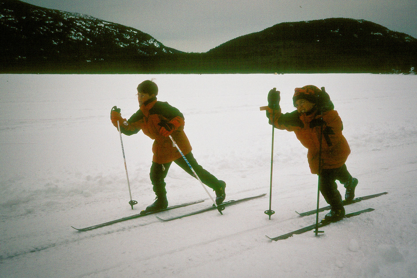 Boys Cross-Country Skiing on Eagle Lake