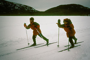 Boys Cross-Country Skiing on Eagle Lake