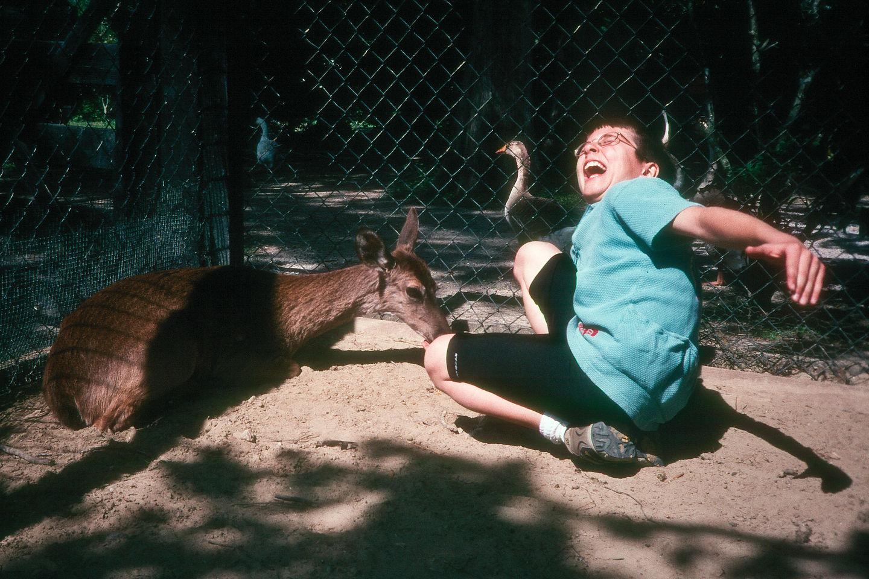Andrew feeding the deer