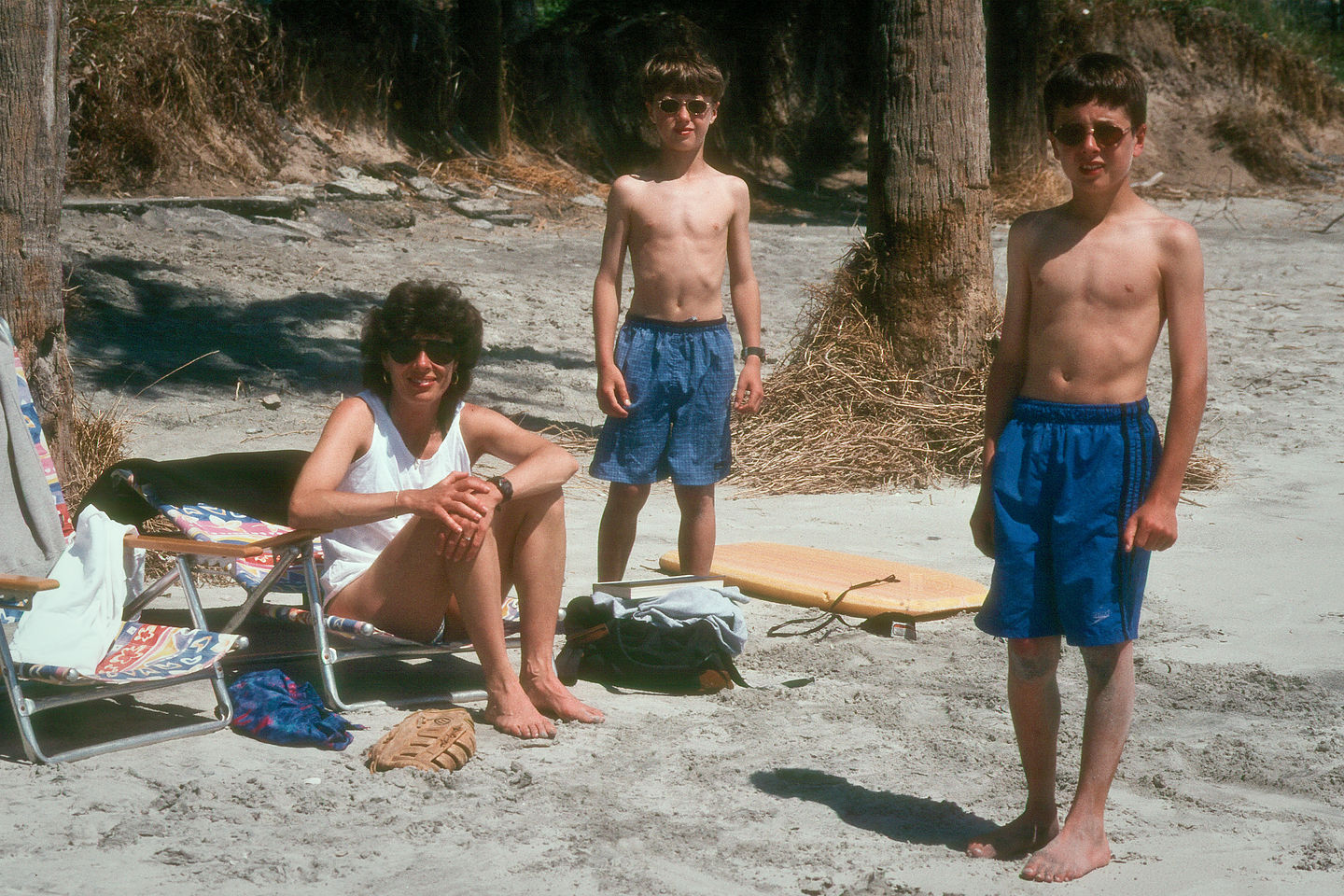 Lolo and boys under palmetto palms