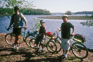Herb and boys on bike trai