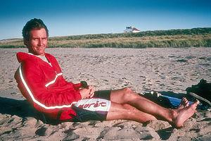 Herb relaxing on beach?