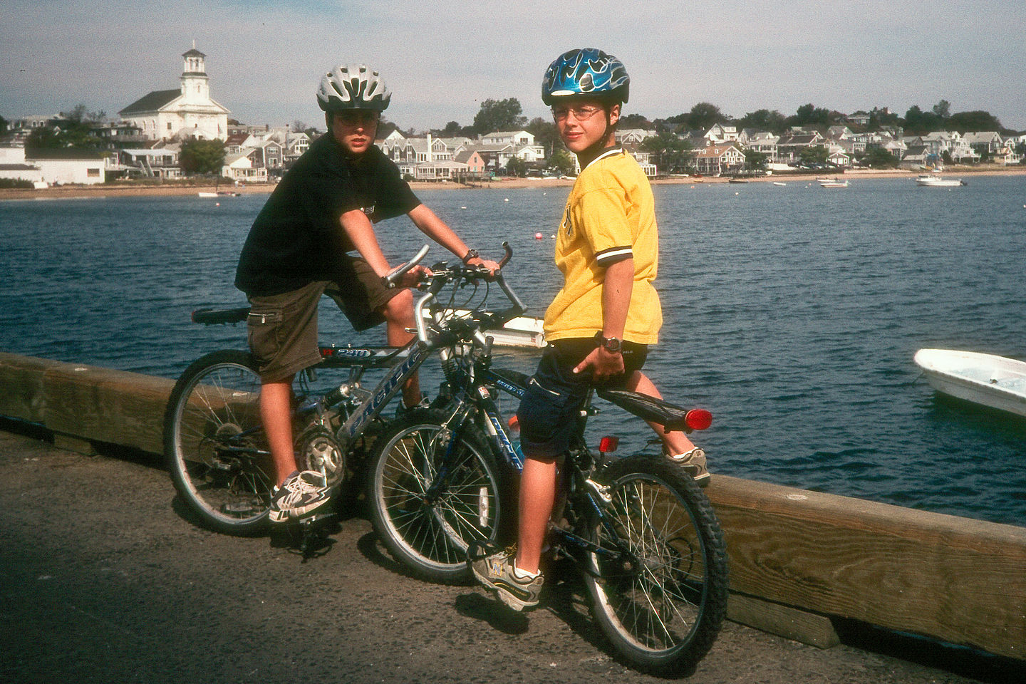 Boys biking in Provincetown