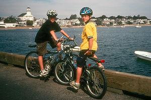 Boys biking in Provincetown