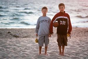Boys on beach at ladies week