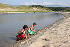 Making sand castles at Broom Point