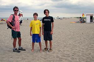 Herb and boys on Kelley's Beach