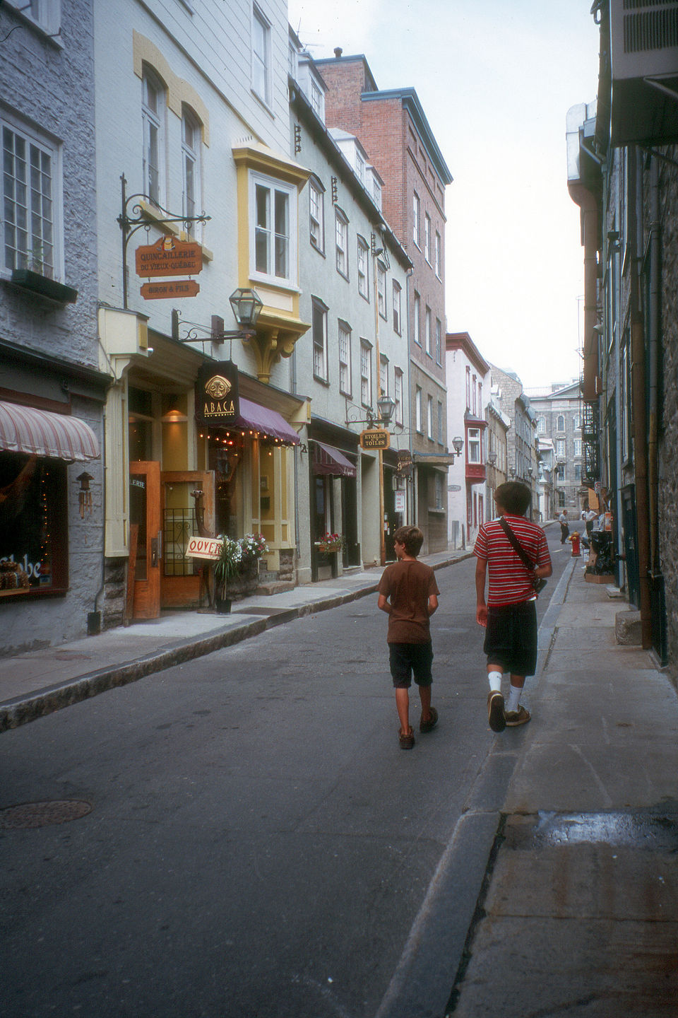The boys wandering through Vieux Quebec