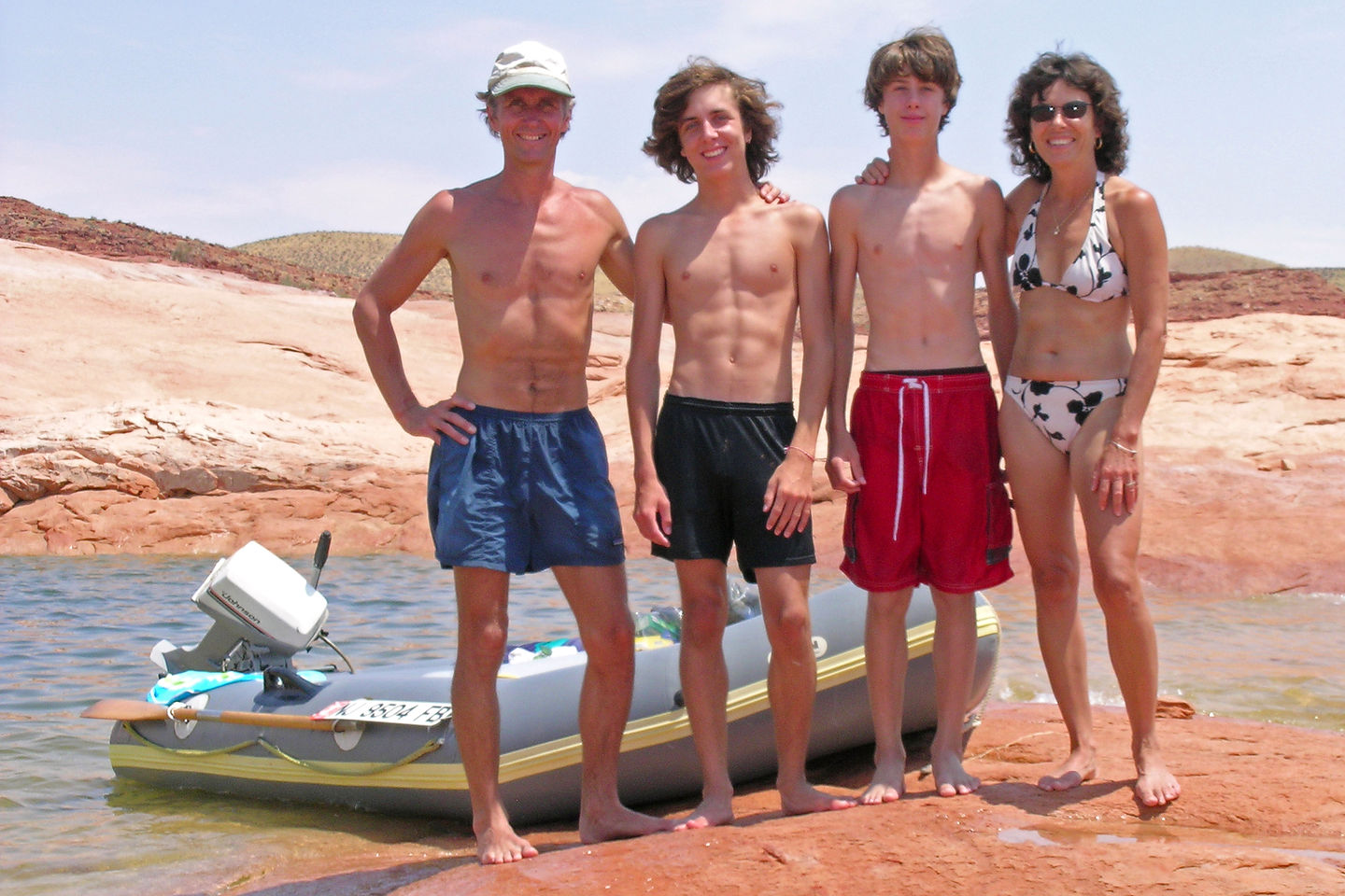 Family with trusy 21-year-old Avon inflatable