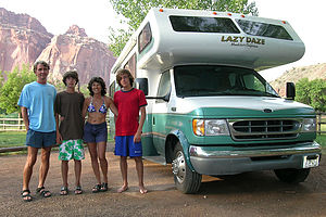 Family with the Lazy Daze at the Fruita Campground