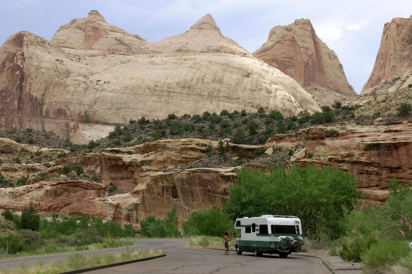 Lazy Daze on road through Capitol Reef