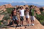The four of us along the Hike to Double O Arch