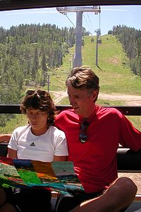Lolo planning the bike ride down Vail Mountain