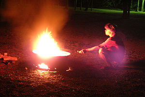 Tommy charring marshmellows