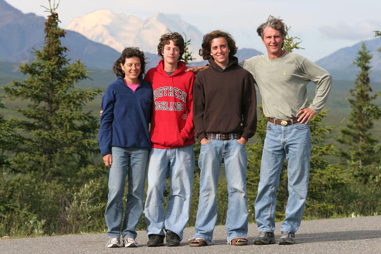 Family in front of Denali