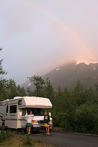 Rainbow over rental Winnebago with boys in Alaska - 2006