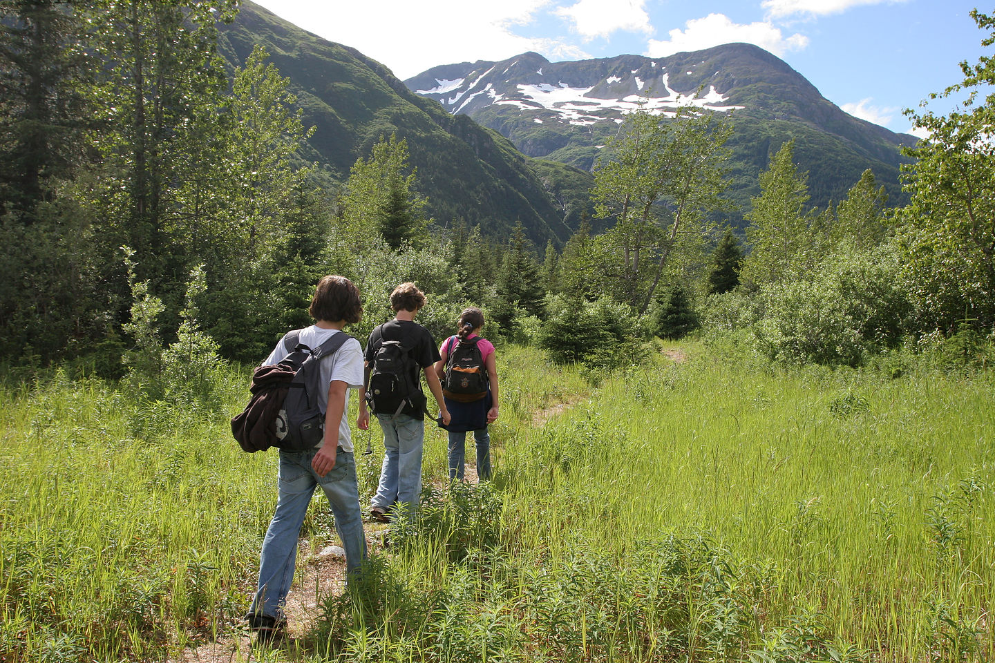 Lolo and boys hiking back to campsite