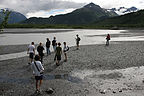 Gang hiking on the glacier's outwash plain
