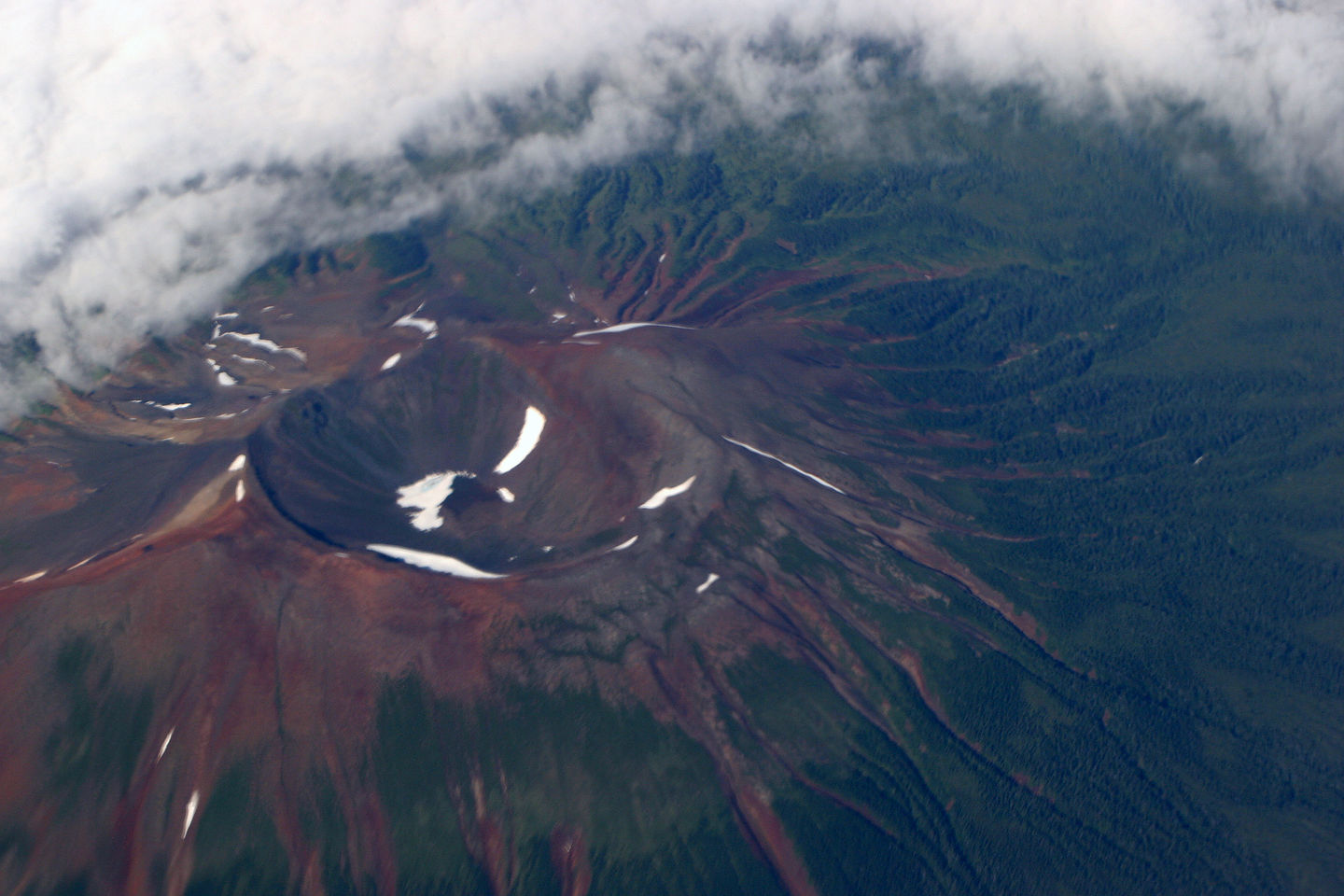 Volcano from airplane window