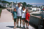 Family along the docks on Mackinac Island