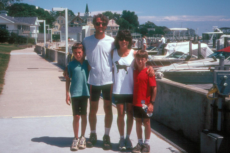 Family along the docks on Mackinac Island