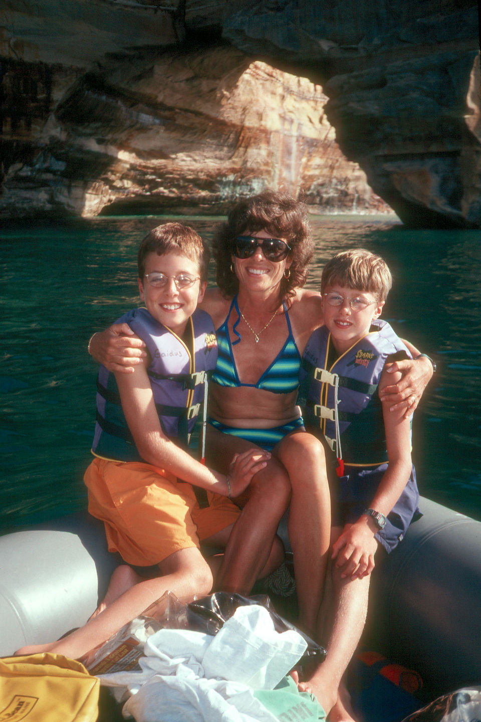Lolo and boys boating along the pictured rocks