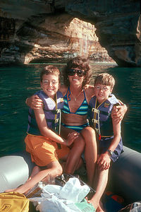 Spouse and boys on raft