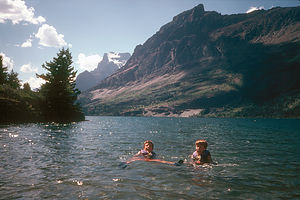 Cold swim in St Mary's Lake