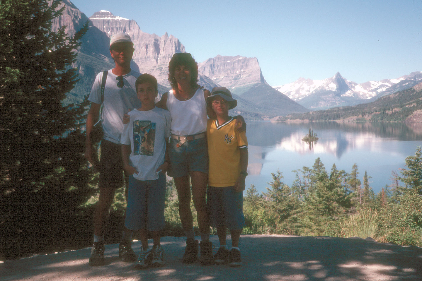 Family along Going to the Sun Road