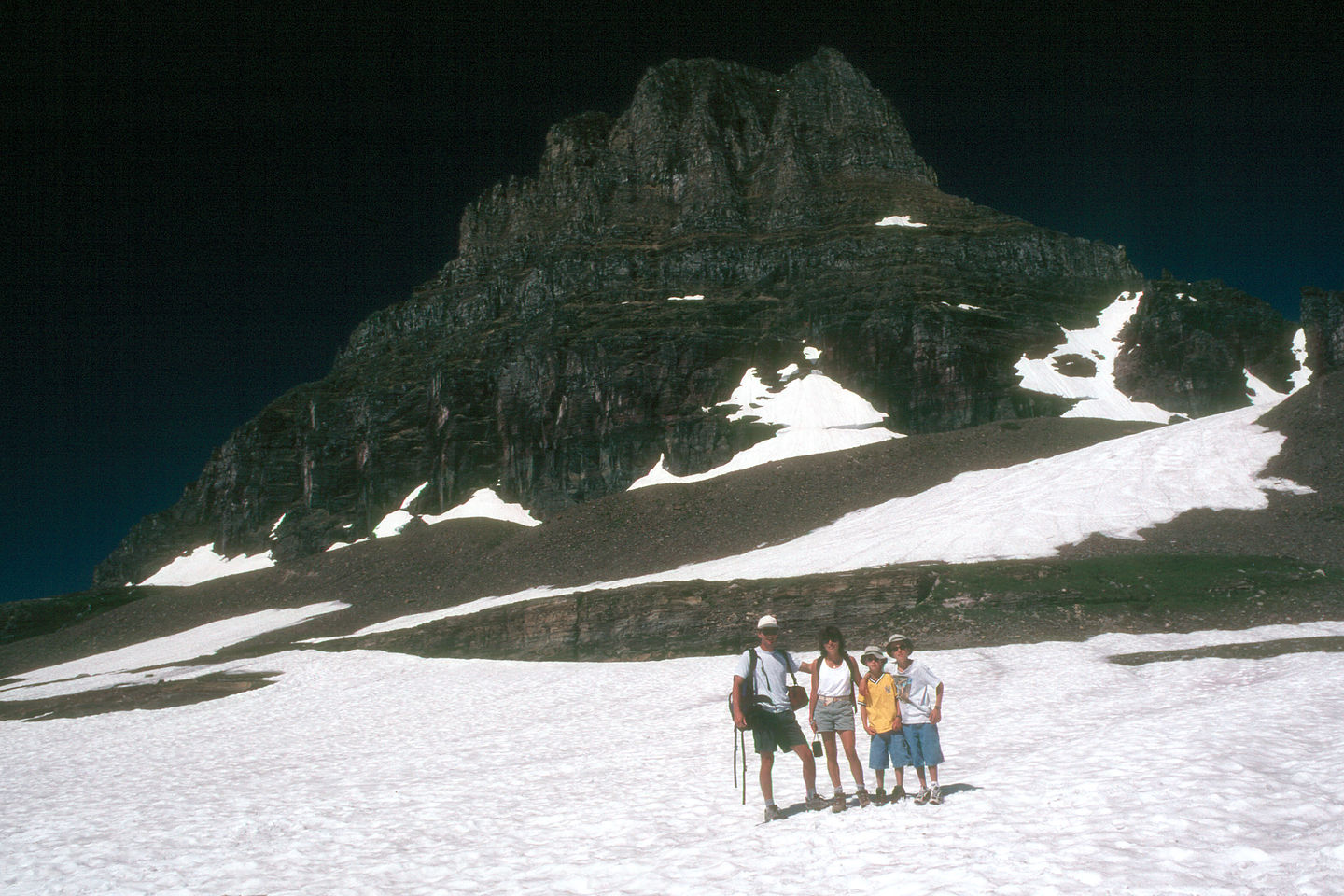 Family on glacier along Hidden Lake Trail