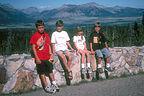 Kids on drive between Glacier and Waterton