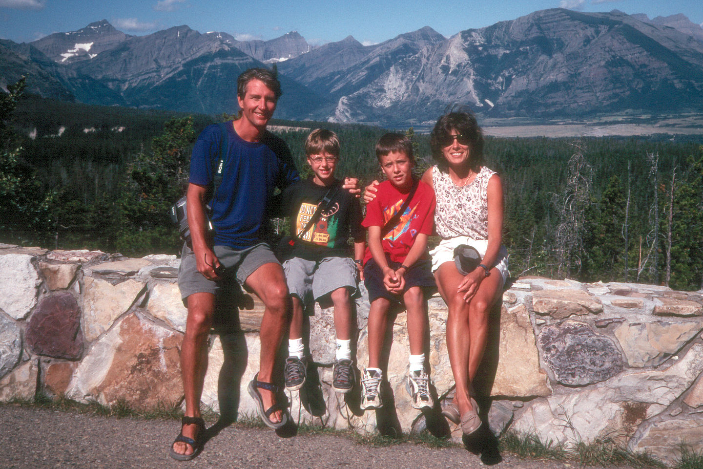 Family in front of Canadian Rockies