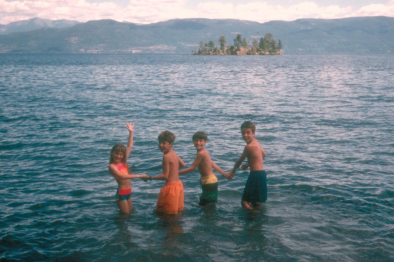 Kids entering Flathead Lake