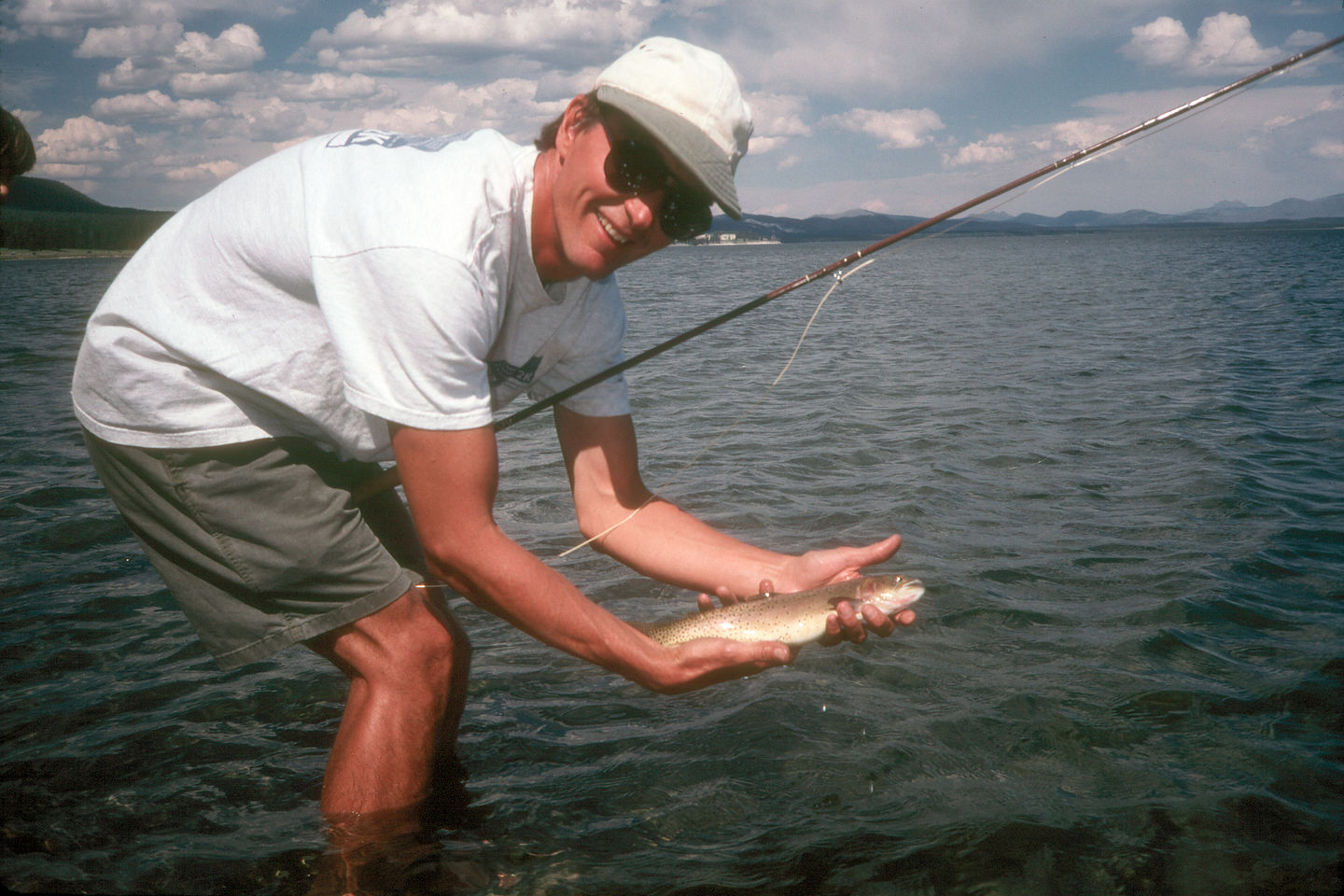 Herb with his first trout caught with dry fly