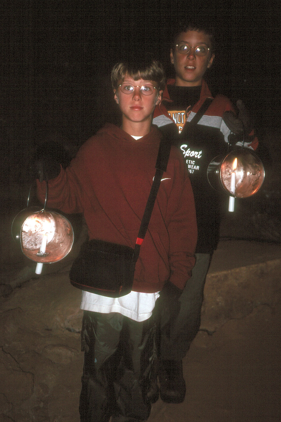 Boys on Candlelight Tour of caves