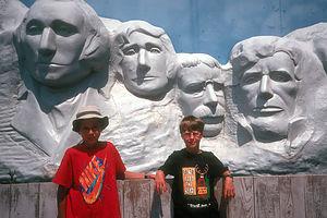 Kids at Wall Drug 'Mount Rushmore'