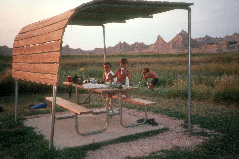 Herb and boys at Cedar Pass campsite