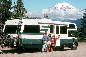 Family & Lazy Daze in front of Mount Ranier