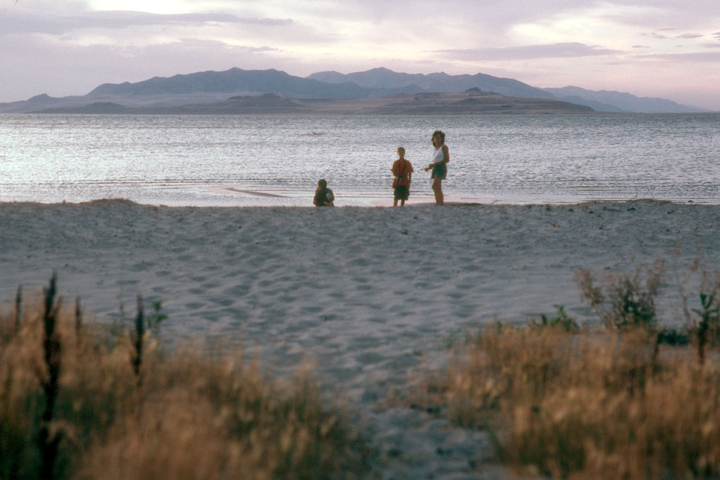 Lolo and boys on campground beach