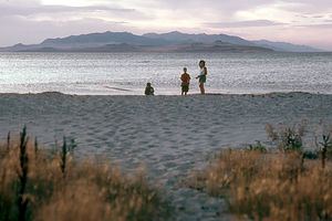 Lolo and boys at Great Salt Lake